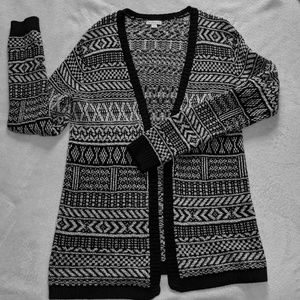 Black and White, patterned, knit cardigan.